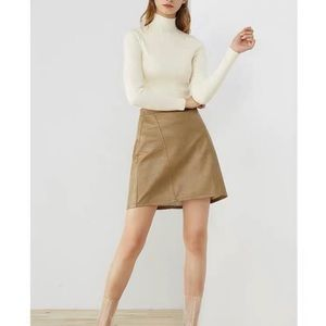 NWT Zara Faux Leather A-Line Mini Skirt in Tan